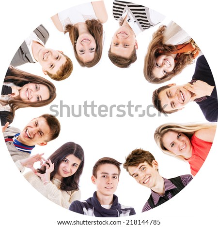 Circle of friends isolated on white - stock photo