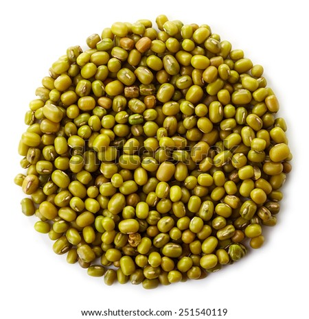 Circle of green mung beans isolated on white background