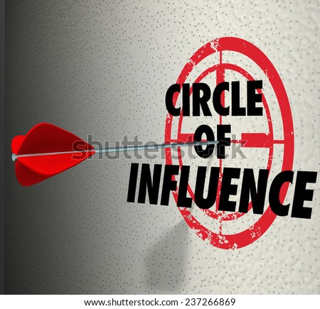 Circle of Influence words on a target with arrow hitting it to illustrate communicating a message to your contacts, friends and family for sales or business mission - stock photo