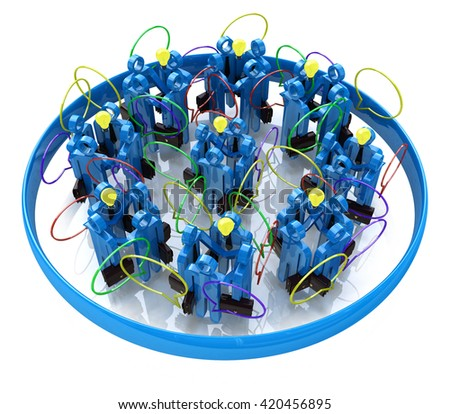 circle of new business meetings in the design of access to information relating to the business and acquaintances. 3d illustration - stock photo