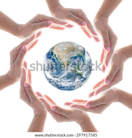 Circle of people left hands group on white background around blue earth: Conceptual symbol of human hands surrounding the globe with world map background: Elements of this image furnished by NASA   - stock photo