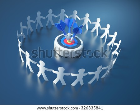 Circle of People with Darts Hitting a Target - Teamwork Concept - High Quality 3D Render  - stock photo