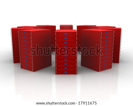 Circle of red servers - stock photo