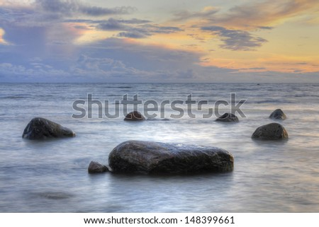 Circle of rocks in the sea