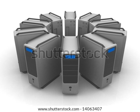 circle of servers - stock photo