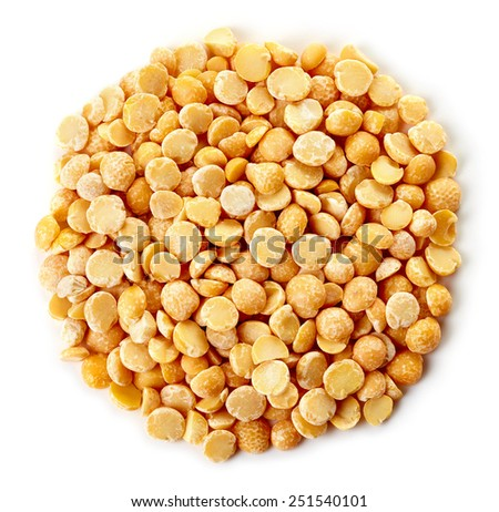 Circle of yellow dry split peas isolated on white background - stock photo