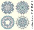 Circle ornament, ornamental round lace collection. Raster version - stock photo