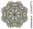Circle ornament, ornamental round lace. Raster version - stock vector