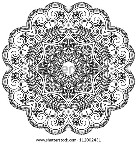 Circle ornament, ornamental round lace. Raster version - stock photo