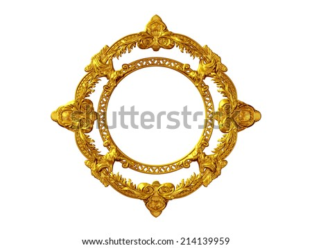 circle ornamental frame in gold - stock photo