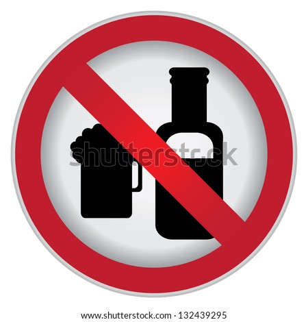 Circle Prohibited Sign For No Alcohol Sign Isolate on White Background - stock photo