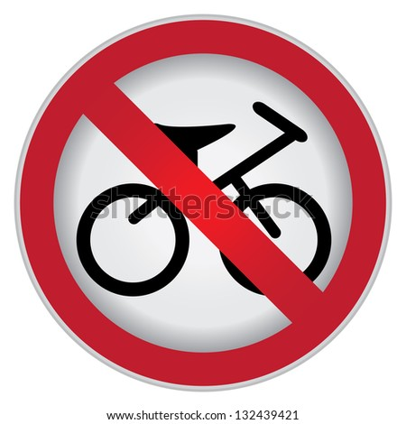 Circle Prohibited Sign For No Bicycle or No Parking Sign Isolate on White Background - stock photo