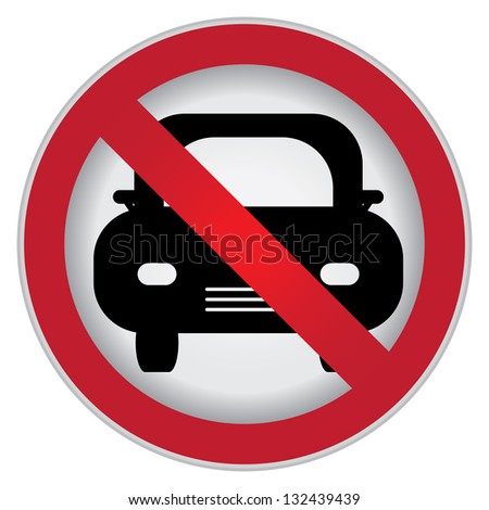 Circle Prohibited Sign For No Car or No Parking Sign Isolate on White Background - stock photo