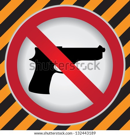 Circle Prohibited Sign For Stop Violence Or No Gun Sign in Caution Zone Dark and Yellow Background - stock photo