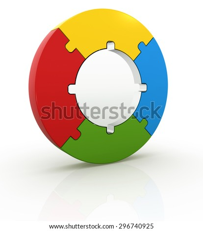 Circle puzzle , This is a computer generated and 3d rendered picture. - stock photo