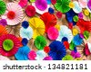circle radial  pattern origami paper craft  colorful background - stock photo
