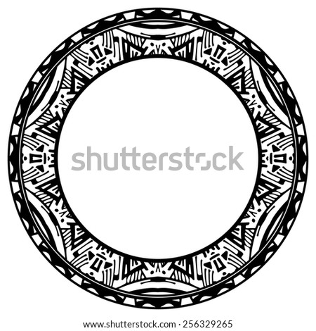 Circle reminiscent element of the Aztec calendar - stock photo