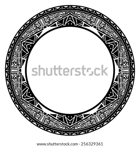 Circle reminiscent element of the Mayan calendar - stock photo