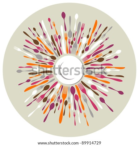 Circle restaurant background. Fork, knife and spoon silhouettes on different sizes and colors around white dish. - stock photo