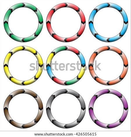 Circle, ring arrow black gradient. Set of colorful circle banners. Rasterized versions. Set-3