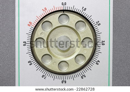 Circle safe combination dial lock with numbers - stock photo