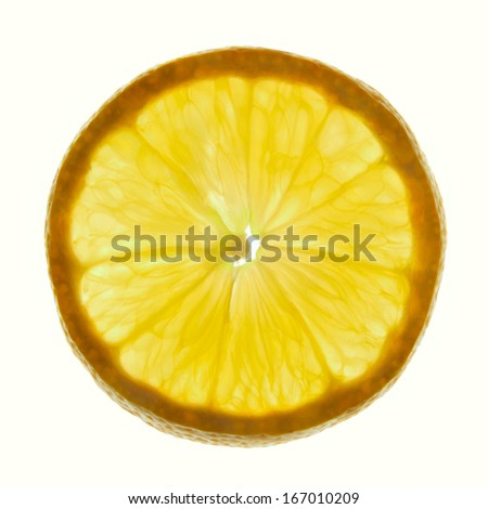 Circle section of fresh lemon on a white background