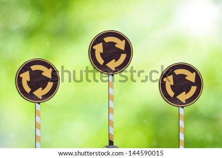 Circle signs green background - stock photo