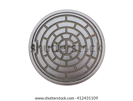 Circle steel manhole cover or drain lid isolated on white background with clipping path (and abstract metallic circle art design) - stock photo