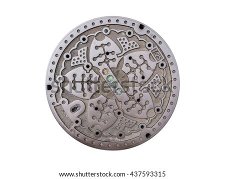 Circle steel manhole cover or metal sewer in Japan isolated on white background with clipping path - stock photo