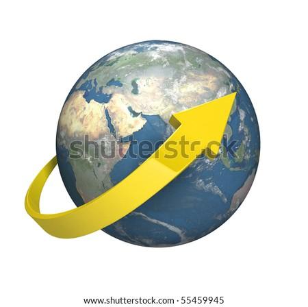Circle the World  [isolated on white background] - stock photo