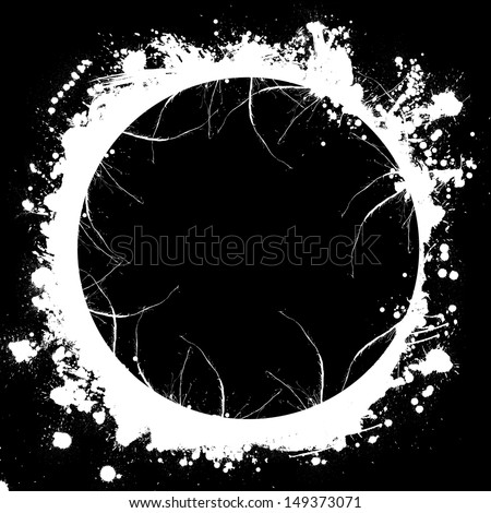 Circle white frame with spray paint blots - stock photo