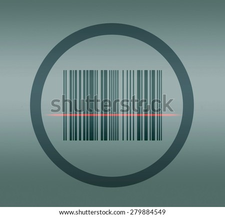 Circle with bar code and laser line - stock photo