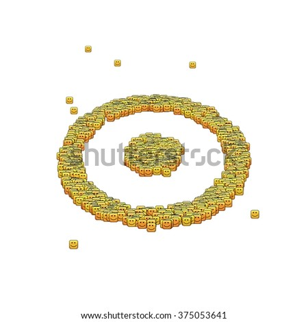 Circle Dot Symbol Glyph Out Tiny Stock Illustration 375053641