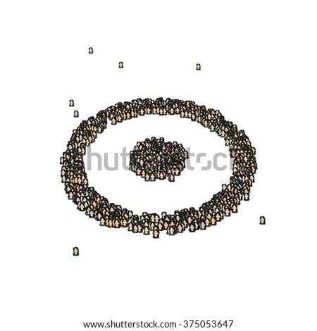 Circle Dot Symbol Glyph Out Tiny Stock Illustration 375053647