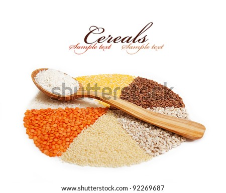 circle with segments from the different types of grain. isolated on white. - stock photo