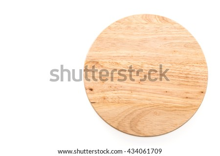 Circle wooden cutting board isolated on white background