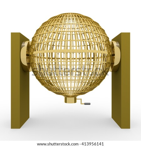 Circled golden lottery cage. National lottery. Loteria nacional. 3D rendering, 3d illustration - stock photo