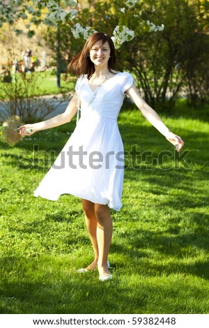 circling a young bride - stock photo