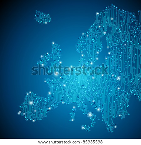 Circuit board background - Europe - JPG version - stock photo