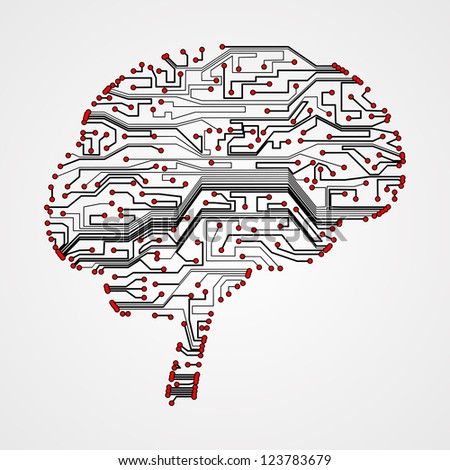 circuit board  background, technology illustration, form of brain - stock photo