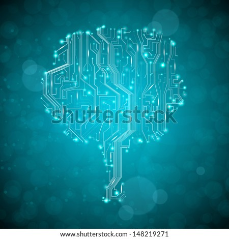 circuit board background, technology illustration, form of tree - stock photo