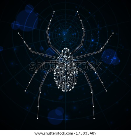 Circuit board  background, technology illustration, spider illustration