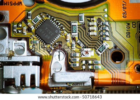circuit board closeup - stock photo