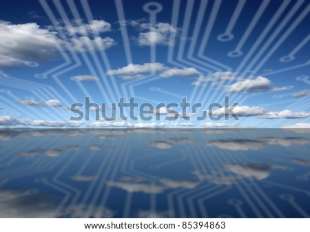 Circuit board connectors over sky and sea landscape - stock photo