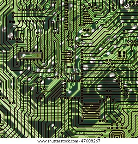 Circuit board dark green square hi-tech texture - stock photo
