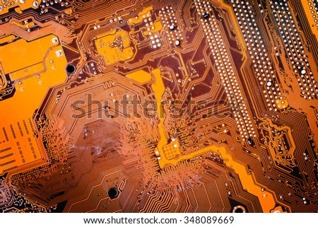 Circuit board. Electronic computer hardware technology. Motherboard digital chip. Tech science background. Integrated communication processor. Information engineering component. Retro style - stock photo