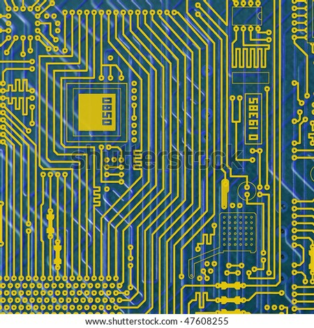 Circuit board electronic golden - blue square background - stock photo