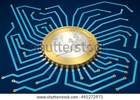 Circuit Board in blue with One Euro as processor - 3D-Illustration - stock photo