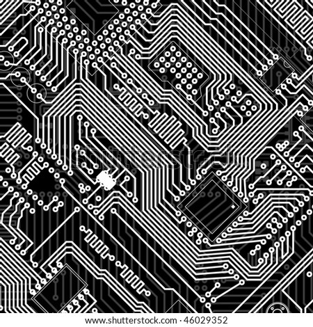 Circuit board industrial electronic monochrome graphic background - stock photo