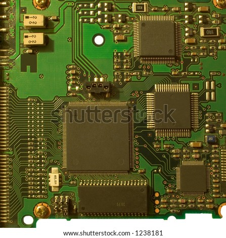Circuit board, isolated - stock photo